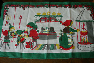 Vintage Swedish Linen Mid-century Table Runner Christmas Signed 50s70s BOWAT