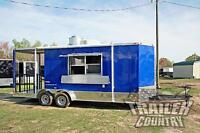 NEW 2018 7X20 Enclosed Mobile Kitchen Concession Food Vending BBQ Porch Trailer