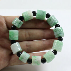 "Certified Grade ""A"" Natural Green Jadeite Jade Carving Beads Bracelet  j3596"