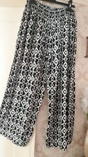 ladies wide leg summer trousers palazzo size large  (14-16)