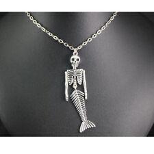 Mermaid Skeleton Metal Alloy Pendant Halloween Necklace Steampunk Jewelry Gift