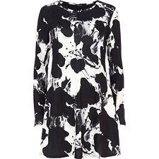 NEW River Island Black White Print Jersey Swing Dress Size 12  #R2