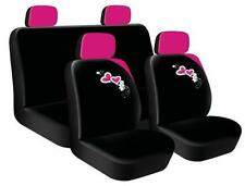 8 Piece Pink Black Heart Flower Blooms Car Seat Headrest Covers Cover girly Set