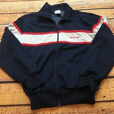 80s VTG ADIDAS TRACK JACKET M Navy Blue Red SPELLOUT Firebird OG COLORBLOCK