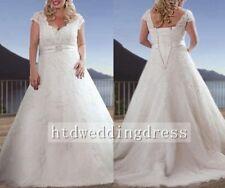 Custom White/Ivory  Plus Size Lace Bridal Gown Wedding Dress 16-18-20-22-24-26++