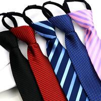 Men Fashion Zipper Tie Stripe Polka Dots Wedding Party Formal Business Necktie