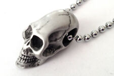 SMALL SKULL PEWTER PENDANT MENS BOYS NECKLACE CHAIN   PC0572