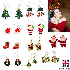 CHRISTMAS EARINGS Funky Novelty Gift Fancy Dress Snowman Santa Stocking Filler