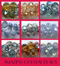 STUNNING Electroplated Abacus Rondelle Crystals 10mm Good Colour Choice (BD020)