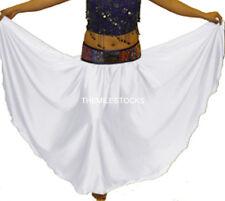TMS WHITE Satin Half Circle Skirt BellyDance Costume Tribal New ROBE JUPE 27 SHS