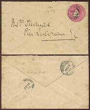 BRITISH GUIANA RAILWAY CDS on STATIONERY ENVELOPE to LUSIGNAN 1894 BUXTON