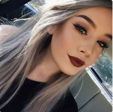 Synthetic Long Straight Hair Ombre Gray Wig Middle Part Wigs Women Party Wigs