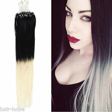 Ombre Dip Dye Loop Micro Rings Beads Tipped Remy Human Hair Extensions 100S 18""