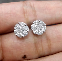 Deal 14K Gold 1.05CT Round Genuine Diamond Cluster Flower Halo Stud Earrings 8MM