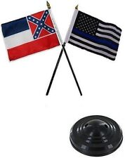 "Mississippi State & USA Police Blue 4""x6"" Flag Desk Set Table Stick Black Base"
