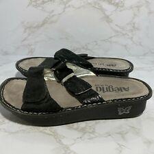 Alegria Womens Sz 37 US 7/7.5 Black Two Strap Leather Sandals Shoes