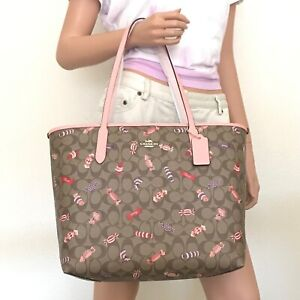 NWT Coach Signature Candy Print City Tote Bag C2534 Khaki Multi