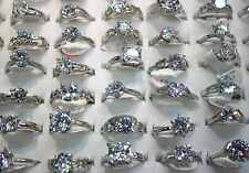 Job Lots 25pcs Clear Cubic Zirconia Silver Plated Charm Classic Women Big rings