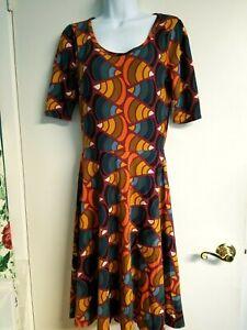 NWT LuLaRoe Nicole Dress Multi color Orange, Green Maroon Size M