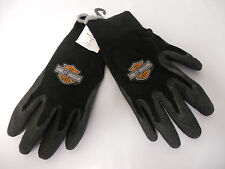 Harley Davidson Small Work Gloves [NEW] Grey Trim Rubber and Poly Cotton Winter