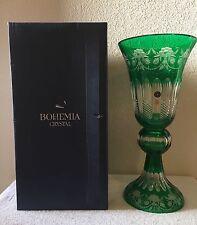 """Bohemian Crystal Green Cut to Clear Czech Rebublic 17""""  Pedestal Vase W/Box New"""