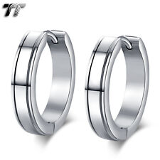 TT Plain 4mm Edged Stainless Steel Large Hoop Earrings Size 20mm (EH101) NEW