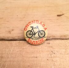 Antique 1890s 1900s Bicycle Stud Celluloid Button Pin ONONDAGA SYRACUSE NY.