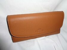COACH 56488 PEBBLED LEATHER CHECKBOOK WALLET CLUTCH SADDLE BROWN ORGANIZER