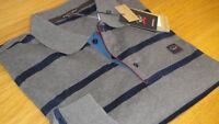 New Paul & Shark Long Sleeve Polo Shirt Stripe Navy Blue & Grey Size XXL Superb