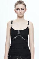 Devil Fashion Rock Women Vest Gothic Steampunk Black Sleeveless Slim T-Shirt Top