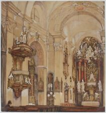 "12"" x 11"" Print – Watercolour Church Interior Painting by Adolf Hitler (Replica)"