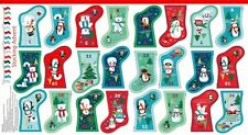 Frosty Snowman Christmas Stockings Bunting Advent Calendar Quilting Panel Fabric