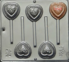 Heart on Heart Lollipop Chocolate Candy Mold Valentine 3001 NEW
