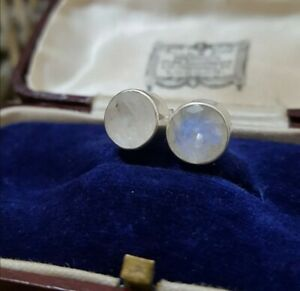 Rainbow Moonstone Sterling Silver Stud Earrings ,TGGC 925, Gemporia