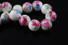10pcs12mm Round Porcelain Loose Spacer Big Hole Beads Charms Violet Red Rose
