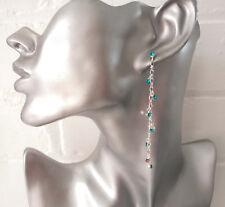 Dainty 8cm long silver tone & turquoise diamante chain drop earrings