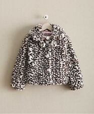 NWT GIRLS BOUTIQUE 5 CHASING FIREFLIES BLACK/WHITE FAUX FUR POM POM COAT JACKET