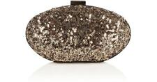 New COAST Gold MARLA SPARKLE Sequin Small Evening Clutch Box Rigid Bullet Bag