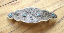 Western Barrette Hair Silver Engraved Handmade Fashion Turquoise Horse Show S