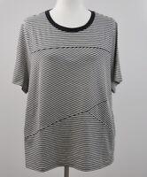 AnyBody Cozy Knit Size Large Mixed Stripe T-Shirt Black Cream New