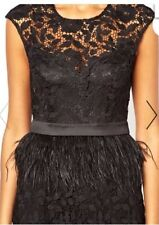 Bnwt🌹Lipsy Vip🌹Size 8 Black Waxed Crotchet Lace Feather Dress Prom New £120