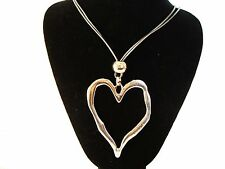 """Big Chunky Silver Heart Long 30"""" Grey Leather Cord Necklace Pendant  Hippy Boho"""
