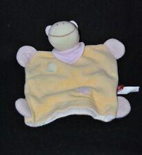 Peluche doudou marionnette vache girafe plat TEX Carrefour jaune foulard TTBE