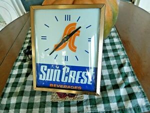 """Advertising Sun Crest Beverages Clock """"Electric"""", Swihart Products"""
