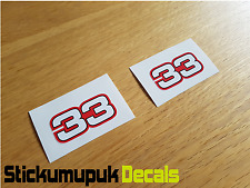 2 x No - 33 Race Stickers Motor Racing F1 Moto GP 69 Helmet Small size 50mm