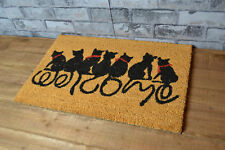 Black Cat Welcome Text Fun Coir Door Mat PVC Anti Slip Rug Entrance Floor Mat
