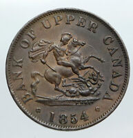1854 UPPER CANADA Antique UK Queen Victoria HALF PENNY BANK TOKEN Coin i90541