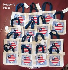 15 Canvas Party Favor Gift Party Bags Favors Red White Blue Flag Jute Handle
