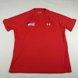 """Under Armour Red Active T-Shirt Size L Loose Fit """"Team One"""" Short Sleeve"""