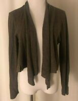 Eileen Fisher Petite Brown Cardigan Sweater Size PL Open Front Wool Long Sleeve